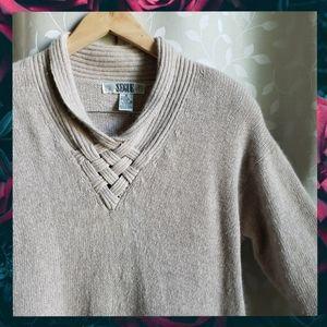 {Vintage}80s AngoraSilk BasketWeave Tunic Sweater